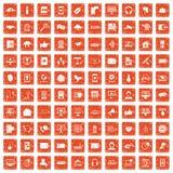 100 communication icons set grunge orange. 100 communication icons set in grunge style orange color isolated on white background vector illustration stock illustration