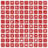 100 communication icons set grunge red. 100 communication icons set in grunge style red color isolated on white background vector illustration vector illustration