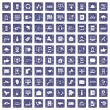 100 communication icons set grunge sapphire Royalty Free Stock Photography