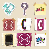Communication icons set. Hand drawn and isolated Stock Photos