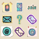 Communication icons set. Hand drawn and isolated Stock Images