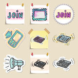 Communication icons set. Hand drawn and isolated Royalty Free Stock Photos