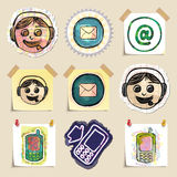 Communication icons set. Hand drawn and isolated Royalty Free Stock Photo