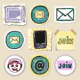 Communication icons set. Hand drawn and isolated Stock Photography