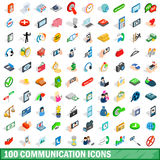 100 communication icons set, isometric 3d style Royalty Free Stock Images