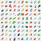 100 communication icons set, isometric 3d style Royalty Free Stock Photos