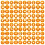 100 communication icons set orange. 100 communication icons set in orange circle isolated vector illustration stock illustration