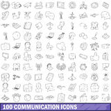 100 communication icons set, outline style. 100 communication icons set in outline style for any design vector illustration Stock Image