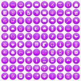 100 communication icons set purple. 100 communication icons set in purple circle isolated vector illustration Royalty Free Stock Photo
