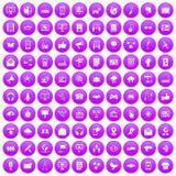 100 communication icons set purple. 100 communication icons set in purple circle isolated on white vector illustration Stock Photo