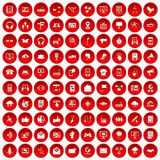 100 communication icons set red. 100 communication icons set in red circle isolated on white vector illustration Stock Photography