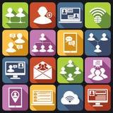 Communication icons set white Stock Photography