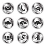 Communication icons on shiny metallic backdrops Stock Photo