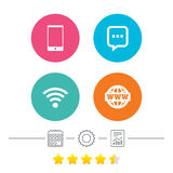 Communication icons. Smartphone and chat bubble. Royalty Free Stock Images