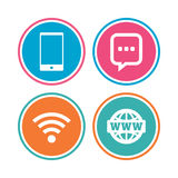 Communication icons. Smartphone and chat bubble. Royalty Free Stock Photos