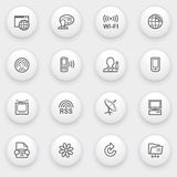 Communication icons with white buttons on gray bac Royalty Free Stock Photos