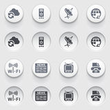 Communication icons on white buttons. Set 1. Stock Photo