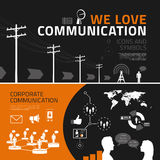 Communication infographics elements, icons and symbols Royalty Free Stock Photography