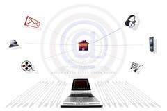 Communication through Internet stock illustration