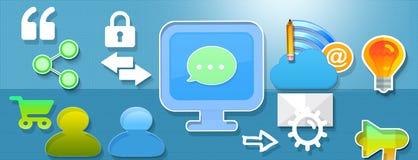 Communication internet. Bachground with elements marketing and symbols web Royalty Free Stock Photography