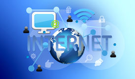 Communication- internet. Bachground with elements for communication and written and computer symbols web Royalty Free Stock Photography