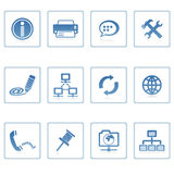 Communication & internet icon. A set of web icons with light reflections Stock Photos