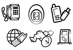 Communication and internet symbols Royalty Free Stock Image
