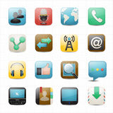 Communication internet and web icons white background Royalty Free Stock Images