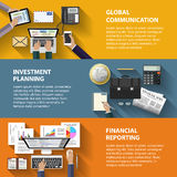 Communication, investment and reporting concept. Modern flat design communication, investment and reporting concept for e-business, web sites, mobile Stock Image