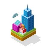 Communication isométrique de radio d'infrastructure d'illustration de vecteur de ville futée Image libre de droits