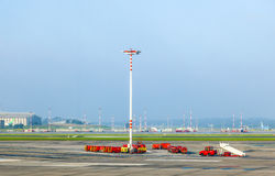 Communication and light mast at Stock Photo