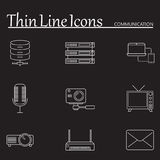 Communication line icons set, outline vector Royalty Free Stock Photo