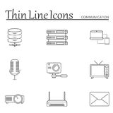 Communication line icons set, outline vector Royalty Free Stock Image