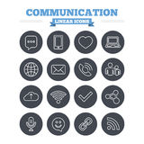 Communication linear icons set. Thin outline signs Royalty Free Stock Photography