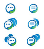 Communication logo, icon set. In a modern yin-yang style with isolated background Stock Photo