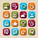 Communication long shadows icons Stock Image