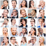 Communication makes people closer. Collage of diverse multi-ethnic and mixed age people expressing positivity while talking on the mobile phones stock photo