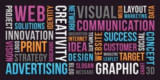 Communication and Marketing - Word cloud stock photos