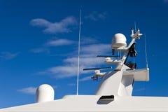 Communication mast on yacht. Royalty Free Stock Photos