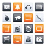 Communication and media icons over color background. Vector icon set stock illustration