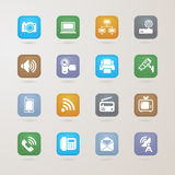 Communication and media icons set Stock Photos