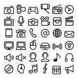 Communication, Media, modern technology web line icon set - big pack. Vector media, wireless internet, concact linear icons design isolated on white Royalty Free Stock Photos