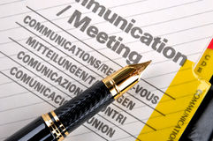 Communication and meeting. Note book communication and meeting page with a fountain pen, shown as daily woking and communication Stock Photos