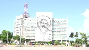 Communication Ministry Building with Camilo Cienfuegos Art in Havana stock video