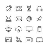 Communication, monitoring, phone marketing and web vector line icons Stock Photography