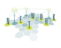Communication network cells with letters Stock Photography