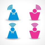 Communication and network concept with male and fe Royalty Free Stock Images