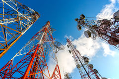 Communication network technology. With telecom satellite for connect  social comunicate Royalty Free Stock Photos