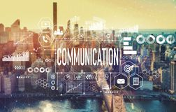 Communication with New York City. Communication with the New York City skyline near midtown stock images
