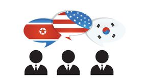 Communication North, south Korea and US America. US America and Korean flags on glossy speech bubble. Korea relations vector illustration